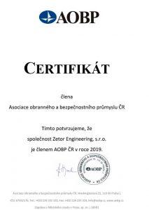 Certifikát AOBP