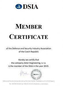 Certifikát DSIA